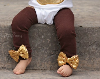 Brown Leg Warmers - Gold Glitter Sequin Bows - Fall Leg Warmers - Brown And Gold