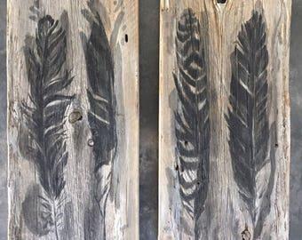 Feathers on Barn Board