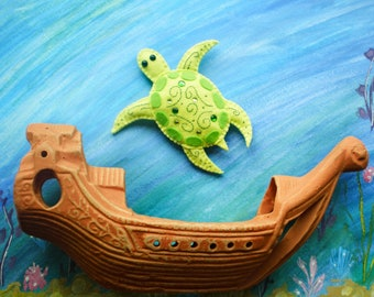 Original sea turtle Green turtle toy sea turtle from felt turtle toy underwater animals felted turtle felted animals kid's toy