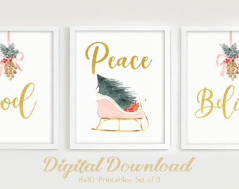 "8""x10"" Professional Print Listing for 3 Prints, Christmas Watercolor wall art"