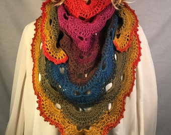 Gone Viral - Virus Shawl in Muted Rainbow
