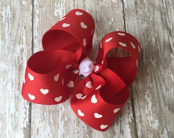 """Red Heart Hair Bow Valentine Large Hair Bow 4"""" Alligator Clip Girls Hairbow Red Heart Hair Bow Red Large Bow 4 Inch Red Hair Bow"""