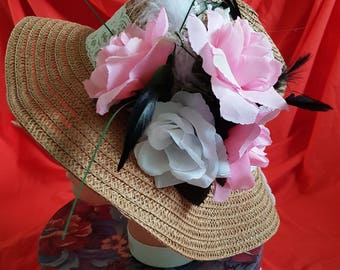 REDUCED New one off summer sun beach floppy straw type hat (28)
