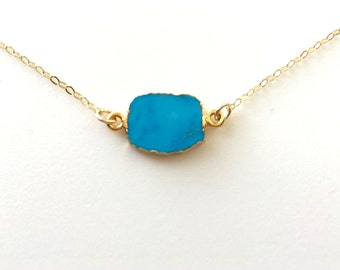 Turquoise Slice Necklace, Turquoise Gold Necklace, Gold Edged Turquoise Necklace