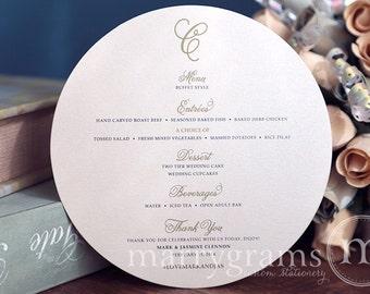 "Round Wedding Menu Cards Featuring Elegant Script Monogram - Unique 6"" Plated Wedding Reception Table Menu Cards (50 count) SS05"