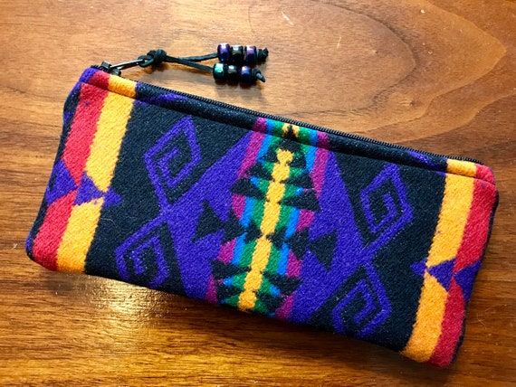 Wool Sunglasses Case / Glasses Case / Tampon Case / Zippered Pouch Purple Great Star