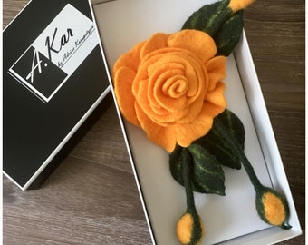 Felted Yellow Rose Flower Brooch