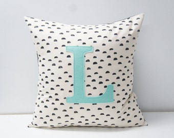 Monogrammed Pillow cover, 20x20, blacks moons on natural, any letter available