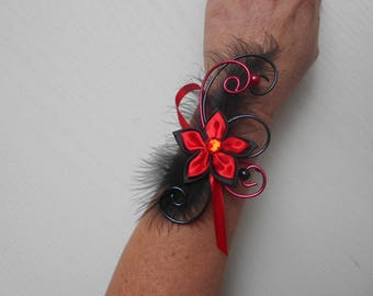 Flowers for bride or witness - red and black bracelet