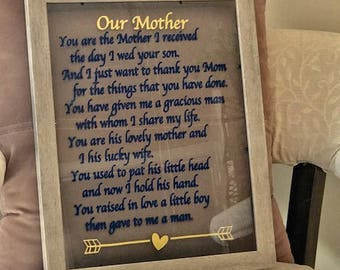 Mother-in-law gift You are the Mother I received the day I wed your son Mother of the groom gift, Mother's Day gift Mother Christmas gift