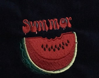Summertime Embroidered Dish Towel
