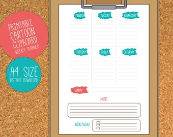 Weekly Planner - Cartoon Clipboard A4 DIGITAL PRINT