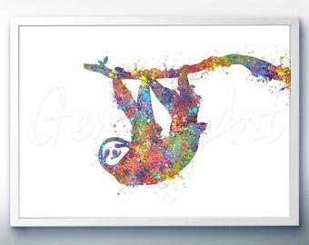 Sloth Watercolor Art Print  - Home Living - Animal Painting - Rabbit Poster - Wall Decor - Home Decor - House Warming Gift