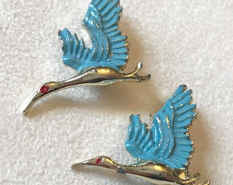 Vintage Pair Blue Flying Egret Crane Bird Scatter Pin Brooches