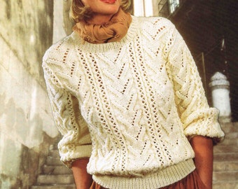 PDF - Lady's Aran Sweater Pullover Jumper - Size 81 to 107 cm (32 to 42 inches) - Sirdar 6611 - Vintage Knitting Pattern