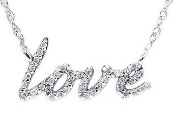 Love Symbol Diamond Pendant 14K White Gold 1/5 CT Love Symbol Diamond Pendant 14K White Gold