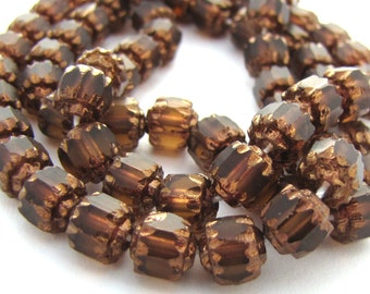 Matte Smoke Topaz with Gold 6mm Facet Barrel Cathedral Czech Glass Fire Polished Beads 25pc #2597