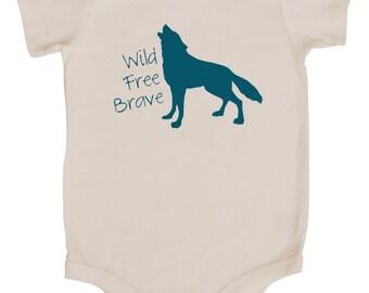 """Wolf """"Wild, Free, Brave"""" Baby Bodysuit"""