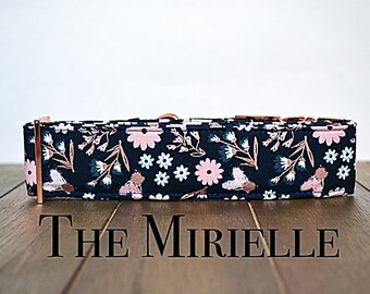 Navy blue floral dog collar with rose gold accents