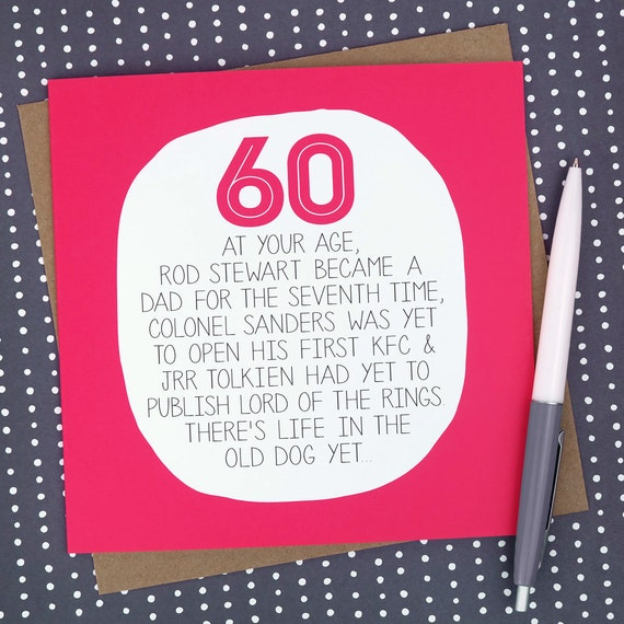 60th Birthday Card At Your Age Funny 60th Birthday Card