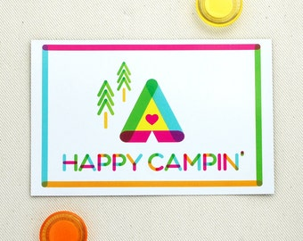 Fridge Magnet - Happy Campin' Magnet Postcard