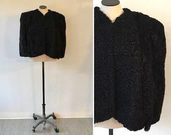 Juno fur cape   Vintage black persian curly lamb cape   1940s persian lamb fur stole