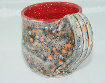 Handmade Ceramic Stoneware Red with Crystals Cup/Mug
