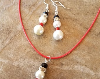 Snowman Earrings and necklace set