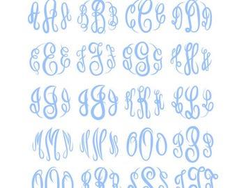 Master Circle Script Svg Master Circle Monogram Font Svg Master Script Monogram Font Cut Files Silhouette Studio Cricut Svg Dxf Png