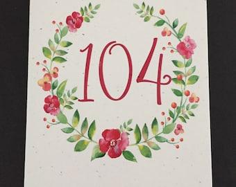 Pretty 104th Birthday Card, Flower Wreath Birthday Card, Pink, Green, Birthday Card for Mom, Card for Aunt, Card for Grandmother