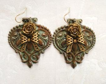 Large Boho Earrings, Verdigris Earrings, Gypsy Earrings, Shabby Chic Jewelry, Dangle Earrings, Floral Statement Earrings, Gift For Her