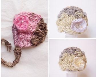 Wool Beanie READY Ship Rose Newborn Photo Prop Baby Shower Gift Hand Knit Bonnet Coming Home Girl Crochet Hat Winter Going Cap Organic Spun