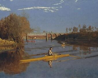 "Thomas Eakins : ""The Champion Single Sculls (Max Schmitt in a Single Scull)"" (1871) - Giclee Fine Art Print"