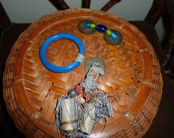 Vintage Chinese Sewing Basket With Glass Ring And Beads 1930's-1950's