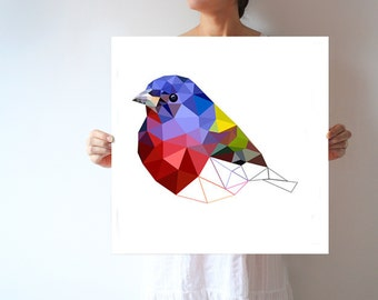 Art poster, bird, Geometric print, Bird Artwork, bird print, violet, wall art, bird poster,bird art print,L35 - Painted bunting