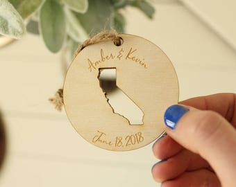 California Wedding Favor Ornaments | State Ornament | California Ornament | Engraved Ornaments | Free Shipping