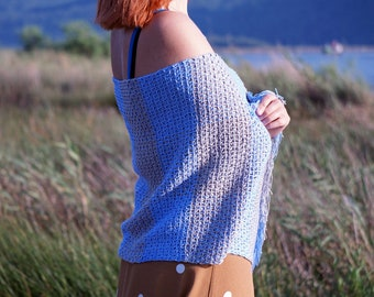 Weaved/Crochet Knit Shawl - Women - Gray - Blue - Light Blue - Bright Colors - Summer Shawl - Spring Shawl -  Handmade - Knitting