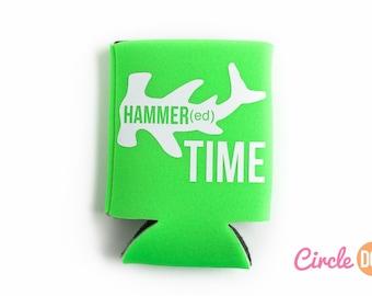 Hammer Time Can KOOZIE® - Personalized Shark Week Beer/Soda Can Hugger gift for beach vacation, hammered Koozie, hammerhead shark, bachelor
