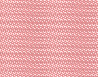 Pink Polka Dot Fabric - Riley Blake Wistful Winds - Pink and White Dot Fabric - Small White Dots on Pink