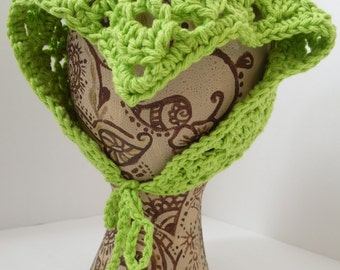 Green Lime Neck Kerchief, Tie On Bonnet, USA Grown Cotton
