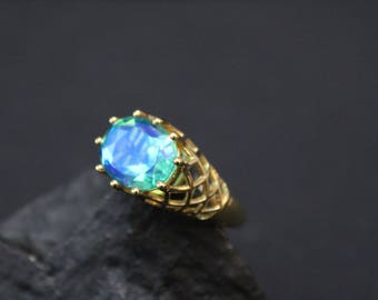 Sterling Silver Gold Overlay Swarovski Crystal Iridescent Gemstone Ring, Swarovski Crystal Jewelry, Aurora Borealis Gemstone Ring