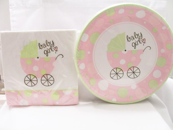 Baby Shower Decor Clearance ~ Clearance set of soft pink and green baby shower paper plates