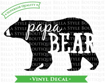 Papa Bear Woodland VINYL DECAL