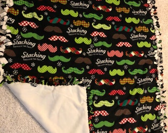 "Mustache Fleece blanket 54"" x 64""  for your Barber washable and reversible"