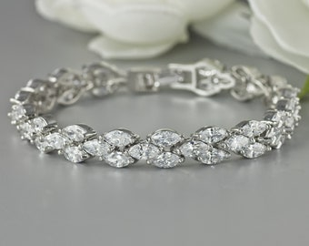 Crystal Bracelet, White Gold Bridal Bracelet, Wedding Bracelet, Tennis Bracelet, Bridal Jewelry, Wedding Jewelry, FELICITY