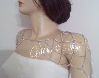 shoulder chain, silver shoulder chain, silver shoulder necklace, body chain, body jewelry