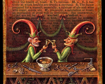 Original acrylic elf painting, Wassail: Santa's elves at workbench, Woodworking tools, Alphabet letter W, Gift for Dad, Fantasy Christmas