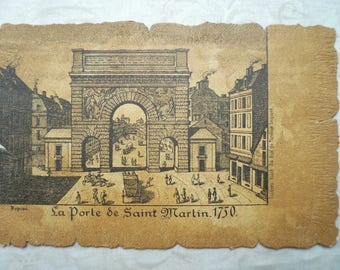 7 Antique Paris Postcards, Scenes of Paris, Postcards of Paris Etchings dating to 1750, French Postcards, 1902.