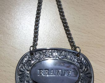 Vintage Brandy Decanter Label on chain, Silver Tone Metal, 1960s