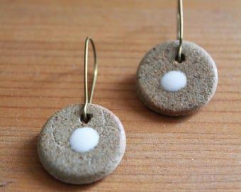Stoneware fasteners earrings Leverback brass ear wires